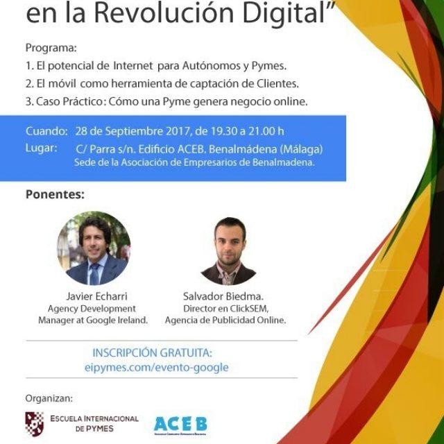 """Google, La Asociación de Comerciantes y Empresarios de Benalmádena y la Escuela Internacional de la Pequeña y Mediana Empresa acogerán la conferencia;  """"Potencia tu Pyme a través de Internet""""."""