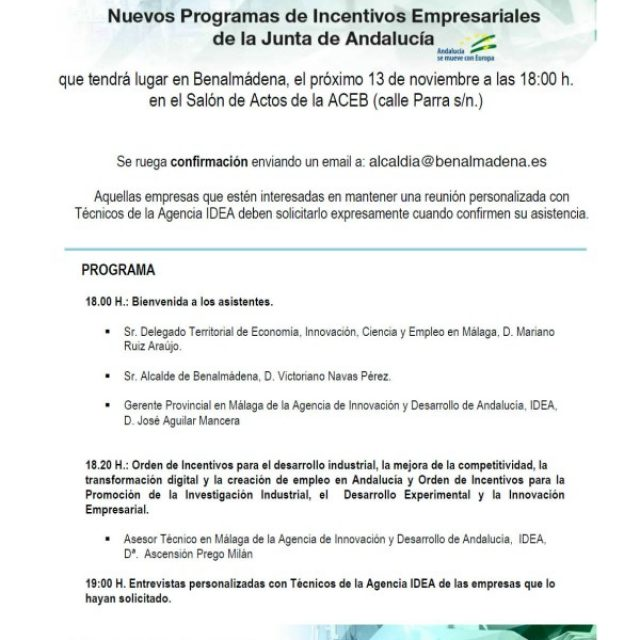 Presentación de incentivos de la Junta de Andalucía para empresas, el 13 de noviembre